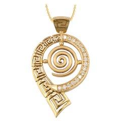 Georgios Collections 18 Karat Yellow Gold Diamond Eternity Pendant Necklace