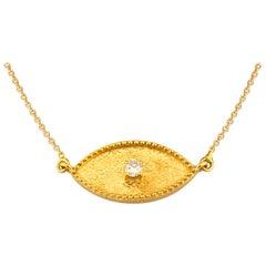 Georgios Collections 18 Karat Yellow Gold Diamond Evil Eye Pendant Necklace