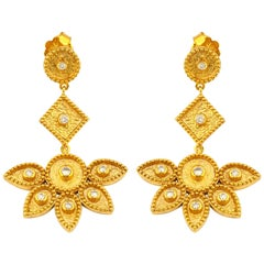 Georgios Collections 18 Karat Yellow Gold Diamond Floral Dangle Drop Earrings