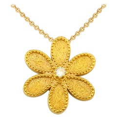 Georgios Collections 18 Karat Yellow Gold Diamond Flower Pendant with Chain