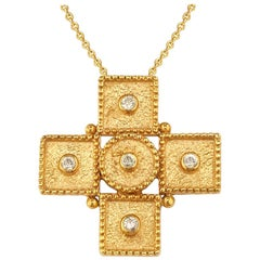 Georgios Collections 18 Karat Yellow Gold Diamond Geometric Cross Chain Necklace