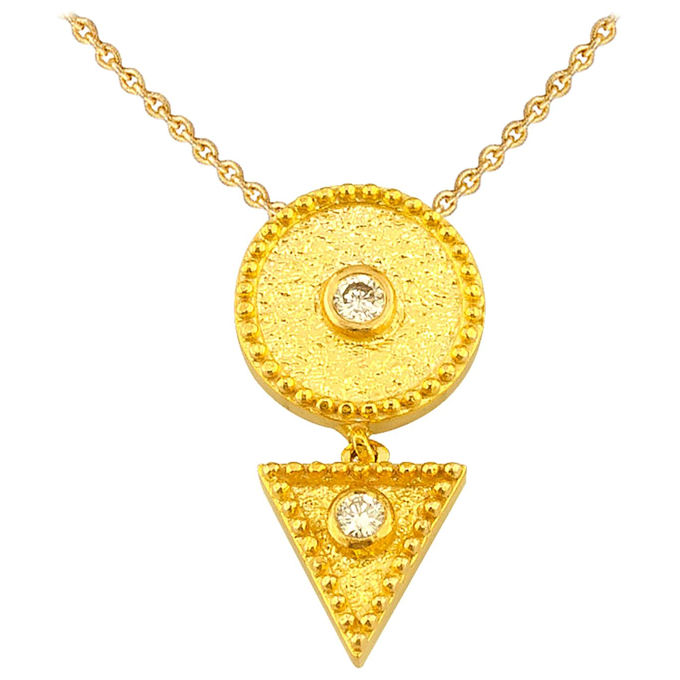 Georgios Collections 18 Karat Yellow Gold Diamond Geometric Pendant Necklace
