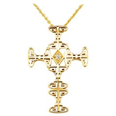 Georgios Collections 18 Karat Yellow Gold Diamond Greek Key Cross with Chain