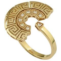 Georgios Collections 18 Karat Yellow Gold Diamond Greek Key Design Band Ring