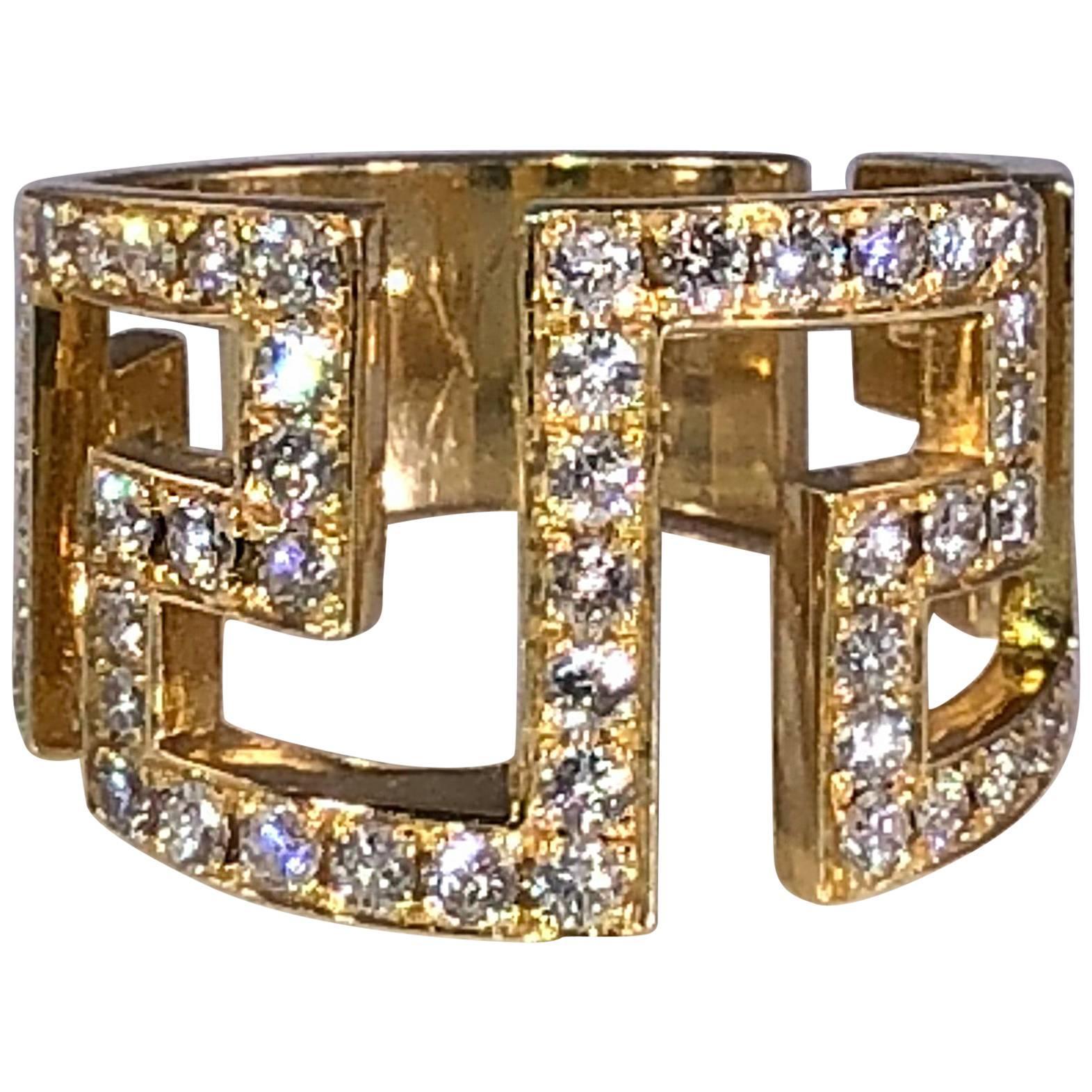 Georgios Collections 18 Karat Yellow Gold Diamond Greek Key Design Wide Ring