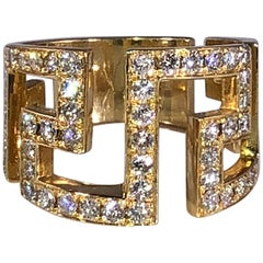Georgios Collections 18 Karat Yellow Gold Diamond Greek Key Design Ring