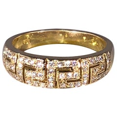 Georgios Collections 18 Karat Yellow Gold Diamond Greek Key Design Ring.