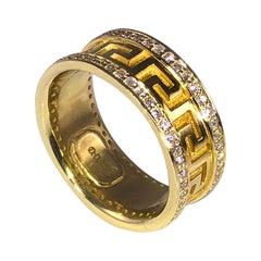 Georgios Collections 18 Karat Yellow Gold Diamond Greek Key Eternity Band Ring