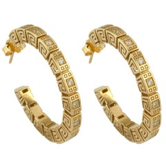 Georgios Collections 18 Karat Yellow Gold Diamond Greek Key Hoop Earrings