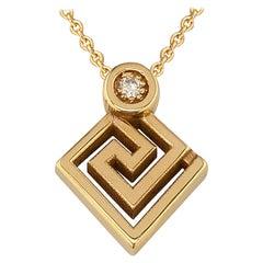 Georgios Collections 18 Karat Yellow Gold Diamond Greek Key Pendant Necklace