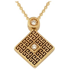 Georgios Collections 18 Karat Yellow Gold Diamond Greek Key Pendant Necklace