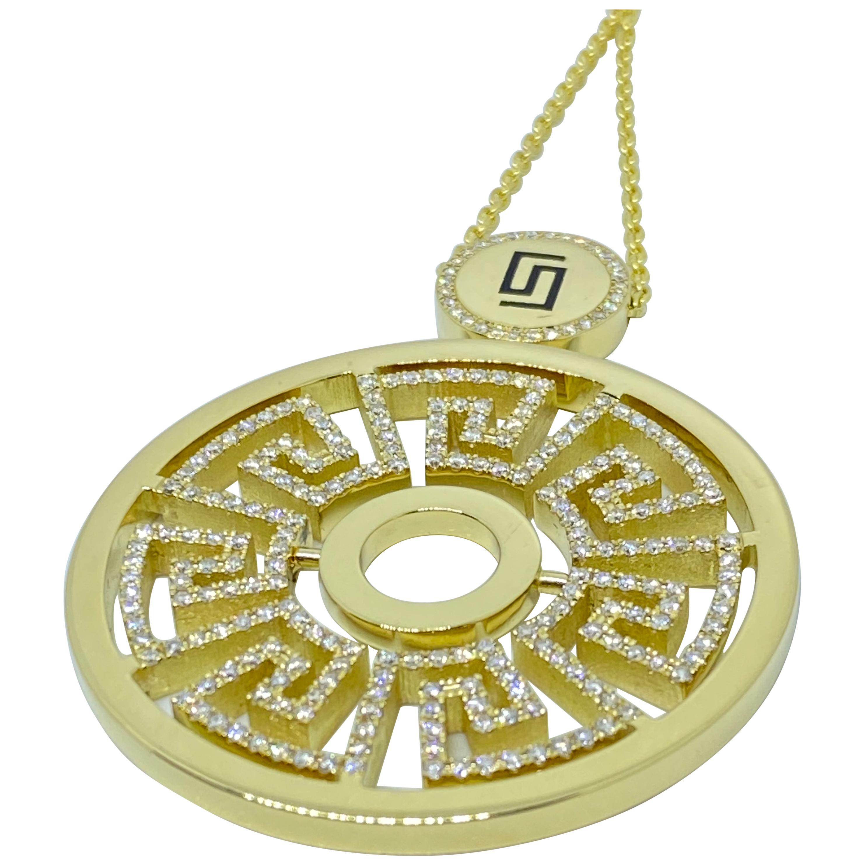 Georgios Collections 18 Karat Yellow Gold Diamond Greek Key Round Drop Pendant