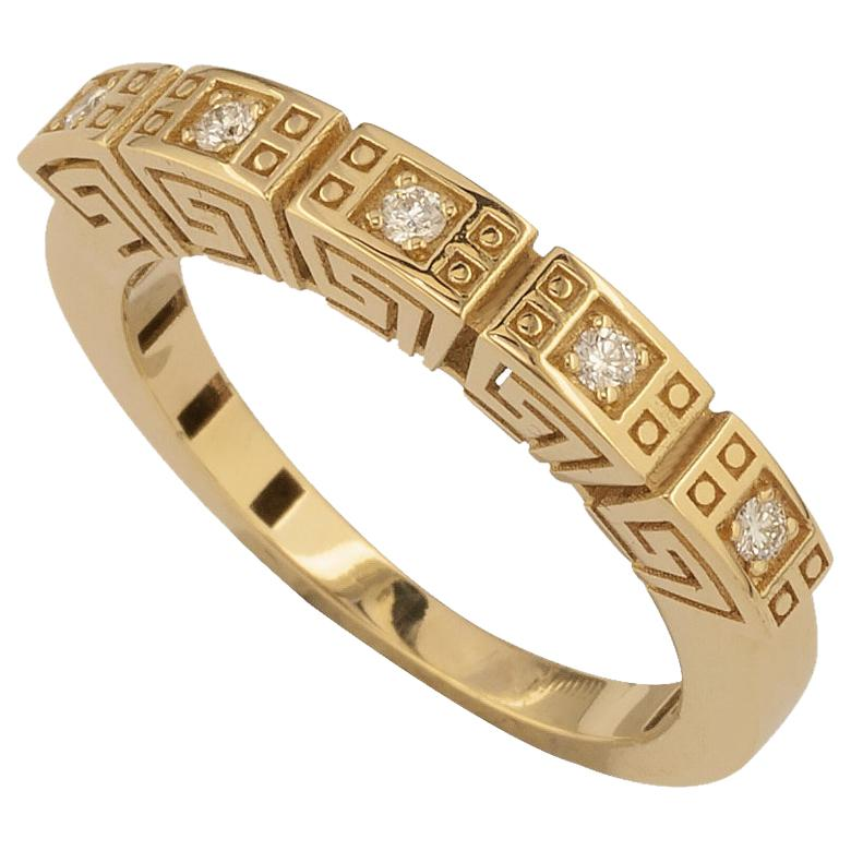 Georgios Collections 18 Karat Yellow Gold Diamond Greek Key Thin Band Ring