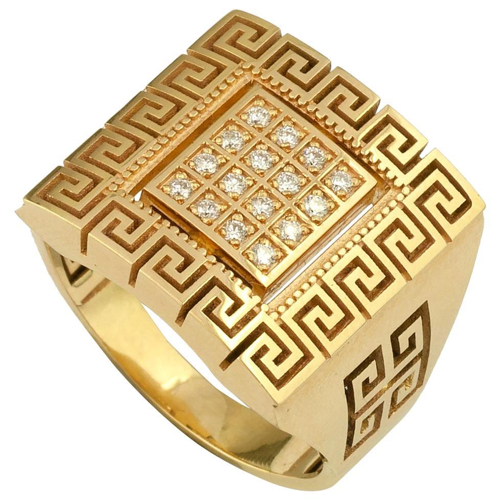 Georgios Collections 18 Karat Yellow Gold Diamond Greek Key Unisex Band Ring