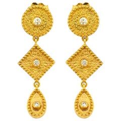 Georgios Collections 18 Karat Yellow Gold Diamond Long Dangle Drop Earrings