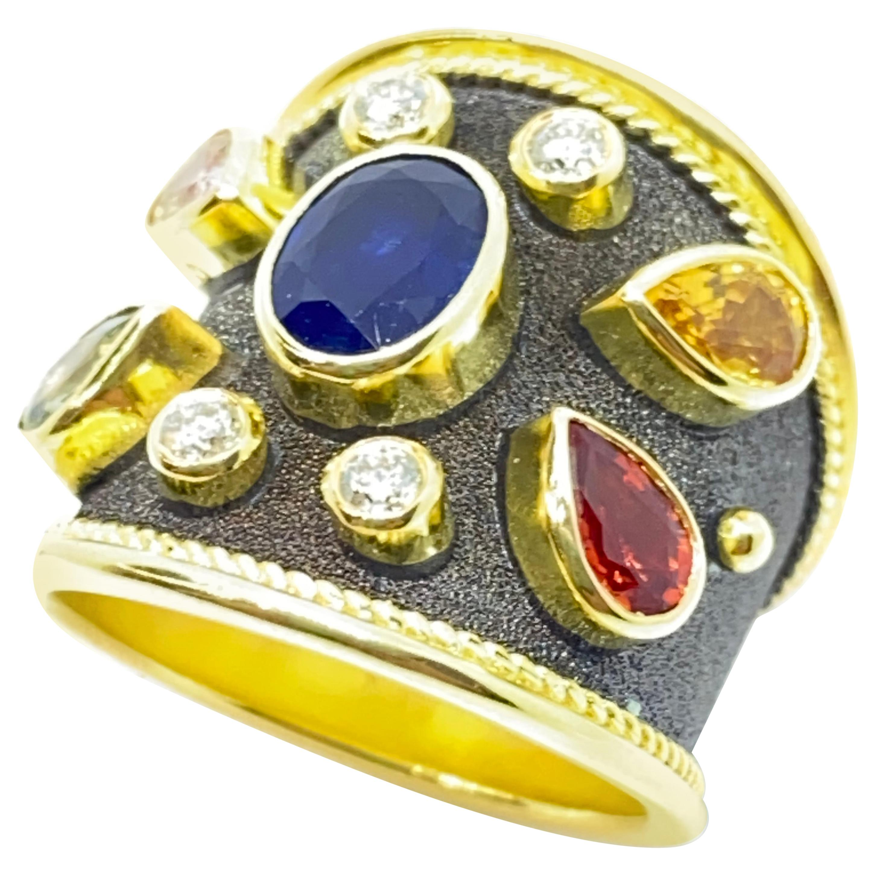 Georgios Collections 18 Karat Yellow Gold Diamond Multi-Color Sapphire Band Ring