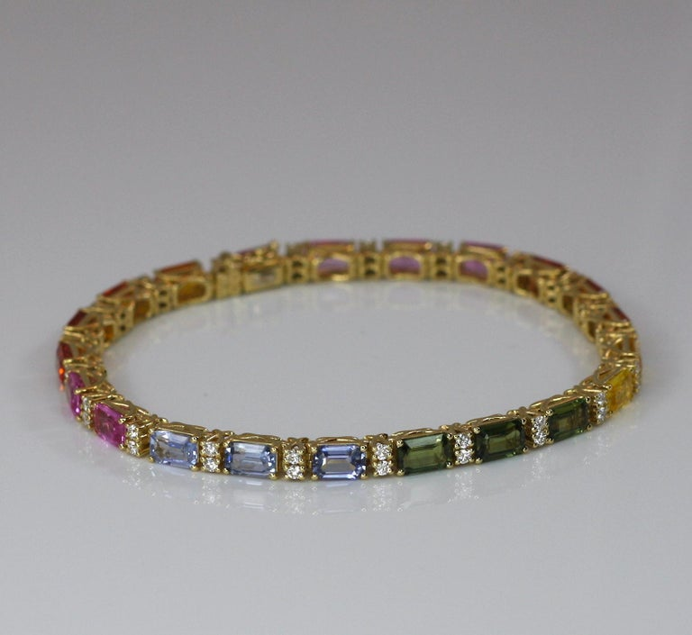 Georgios Collections 18 Karat Yellow Gold Diamond Multi-Color Sapphire Bracelet For Sale 5