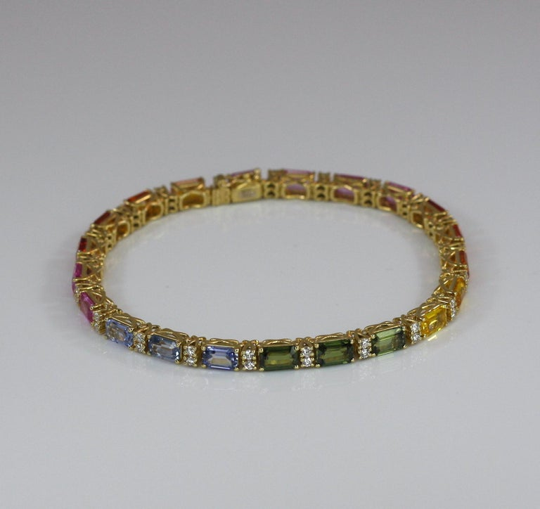Georgios Collections 18 Karat Yellow Gold Diamond Multi-Color Sapphire Bracelet For Sale 6