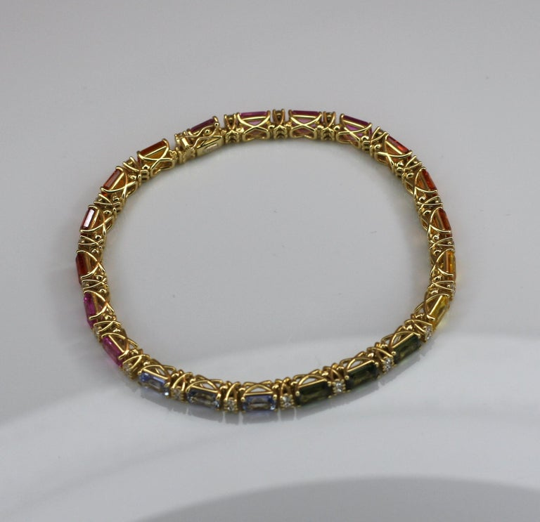 Georgios Collections 18 Karat Yellow Gold Diamond Multi-Color Sapphire Bracelet For Sale 7
