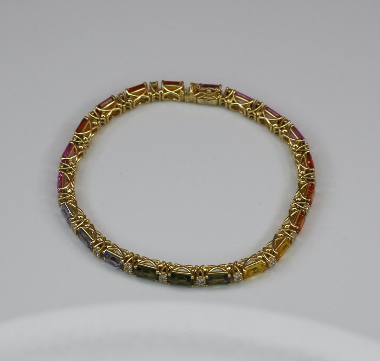 Georgios Collections 18 Karat Yellow Gold Diamond Multi-Color Sapphire Bracelet For Sale 8
