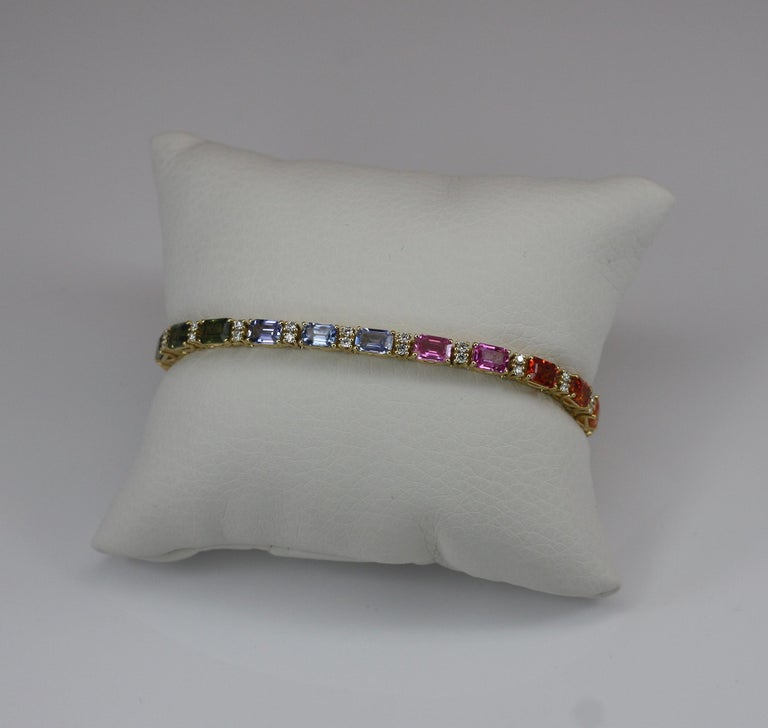 Georgios Collections 18 Karat Yellow Gold Diamond Multi-Color Sapphire Bracelet For Sale 13