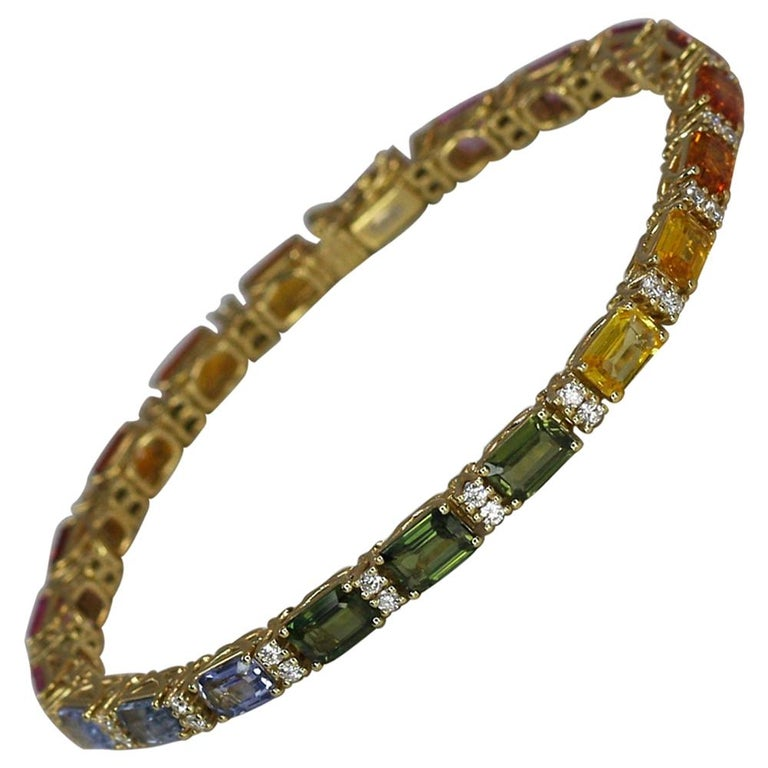 Georgios Collections 18 Karat Yellow Gold Diamond Multi-Color Sapphire Bracelet For Sale