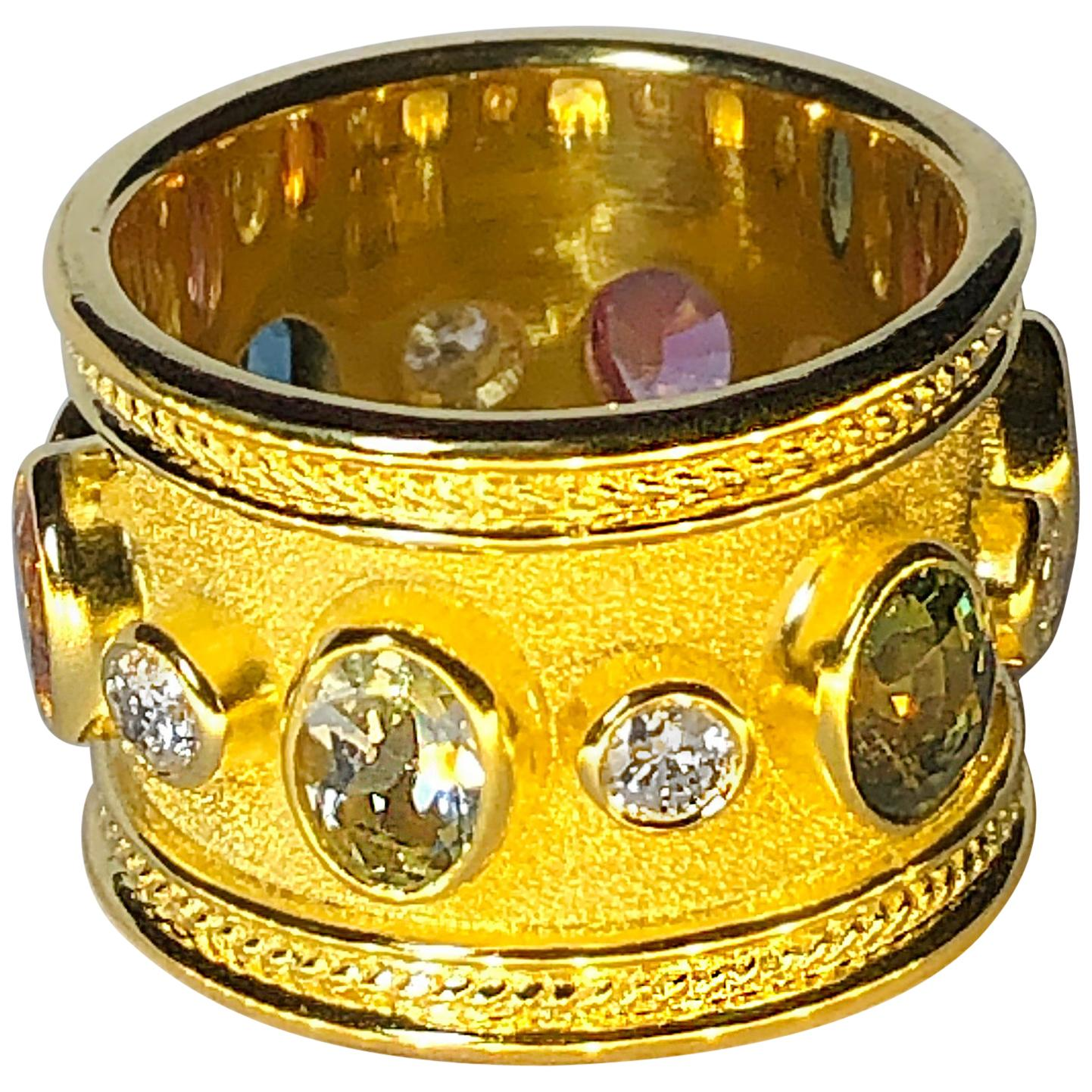 Georgios Collections 18 Karat Yellow Gold Diamond Multi Gemstone Wide Band Ring