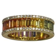 Georgios Collections 18 Karat Yellow Gold Diamond Multi-Rainbow Sapphire Ring