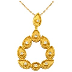 Georgios Collections 18 Karat Yellow Gold Diamond Pear Shape Pendant Necklace