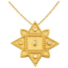Georgios Collections 18 Karat Yellow Gold Diamond Pendant Necklace with Chain