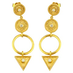 Georgios Collections 18 Karat Yellow Gold Diamond Ring Drop Dangle Long Earrings