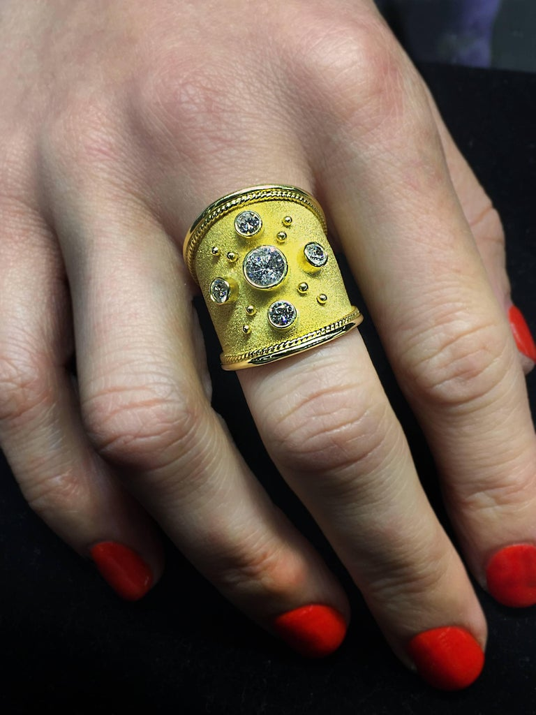 Byzantine Georgios Collections 18 Karat Yellow Gold Wide Diamond Band Ring For Sale