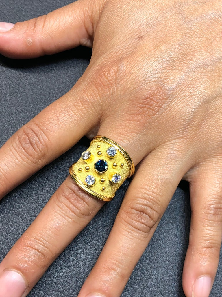 Georgios Collections 18 Karat Yellow Gold Wide Diamond Band Ring In New Condition For Sale In Astoria, NY