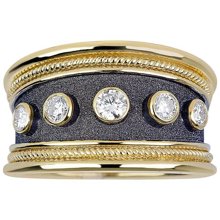 Georgios Collections 18 Karat Yellow Gold Diamond Two-Tone Rhodium Band Ring