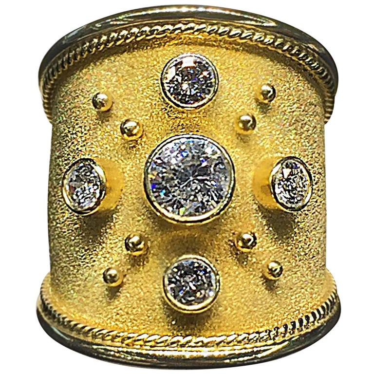 Georgios Collections 18 Karat Yellow Gold Wide Diamond Band Ring For Sale