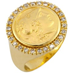Georgios Collections 18 Karat Yellow Gold Diamond Bezel Coin Ring With Athena