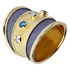 Georgios Collections 18 Karat Yellow Gold Diamond Ring with Blue White Diamonds