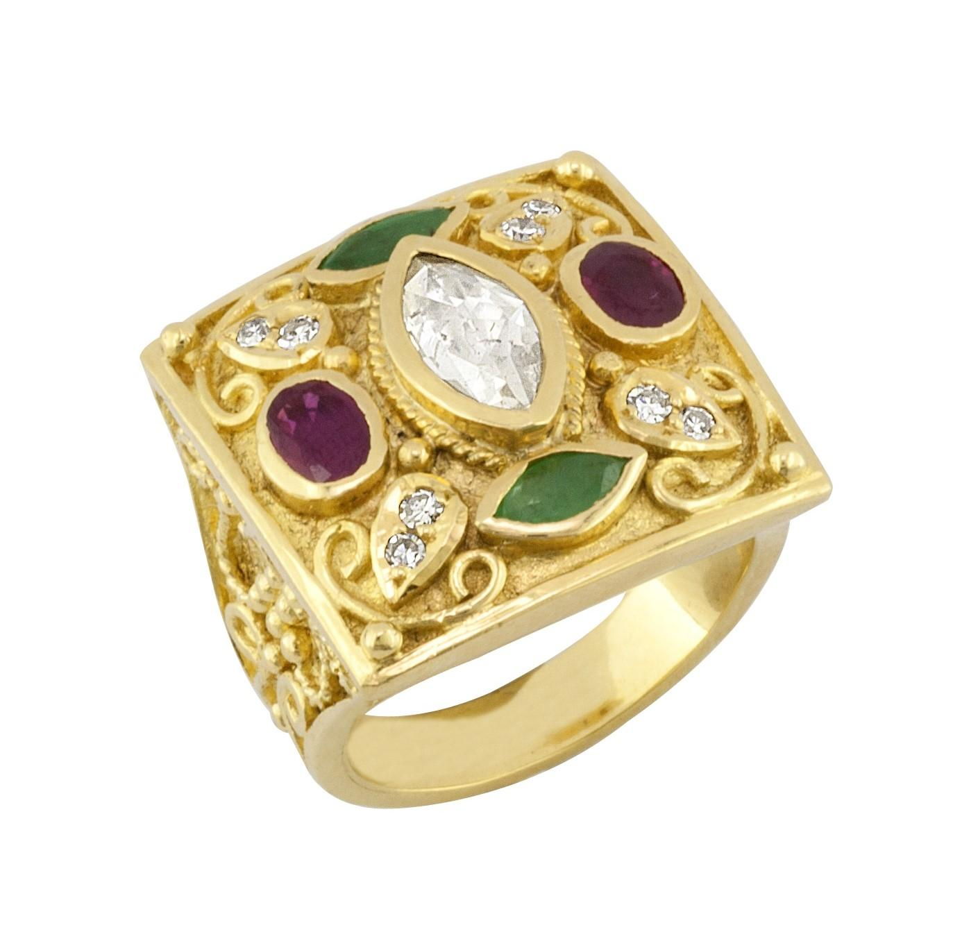 Georgios Collections 18 Karat Yellow Gold Diamond Ring With Emeralds and Rubies