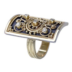 Georgios Collections 18 Karat Yellow Gold Diamond Ring with Granulated Work.