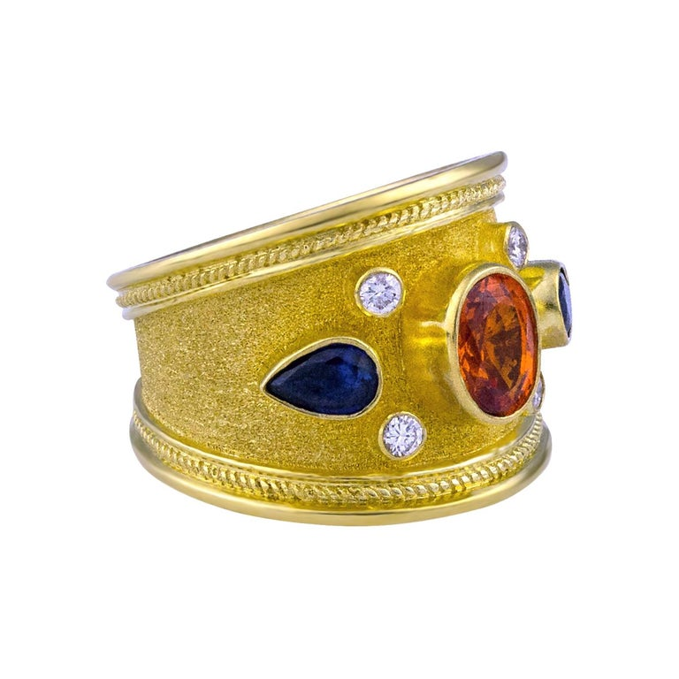 Oval Cut Georgios Collections 18 Karat Yellow Gold Diamond Ring with Multicolor Sapphires For Sale