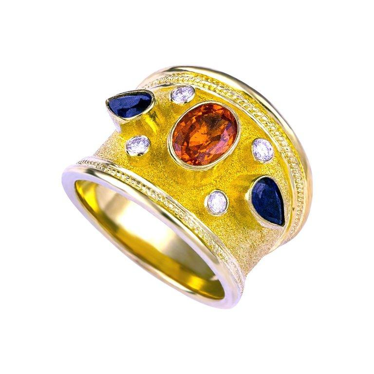 Georgios Collections 18 Karat Yellow Gold Diamond Ring with Multicolor Sapphires For Sale 1