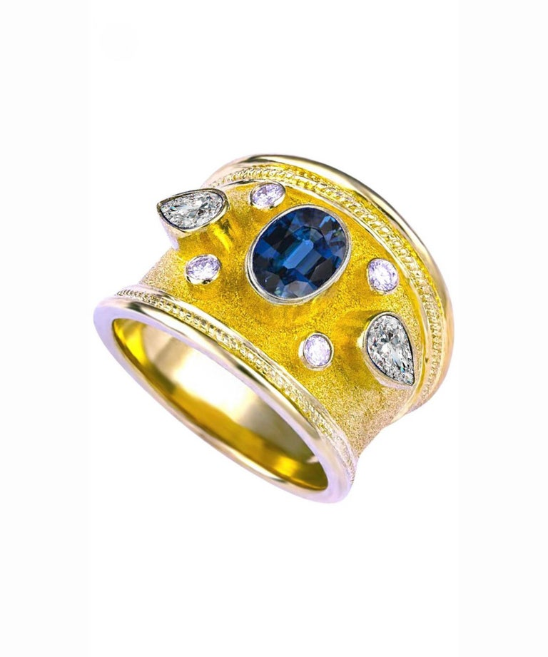 Georgios Collections 18 Karat Yellow Gold Diamond Ring with Multicolor Sapphires For Sale 2