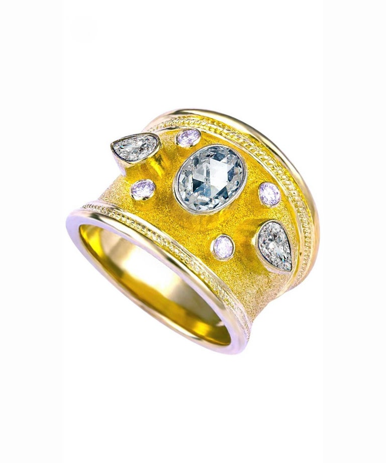 Georgios Collections 18 Karat Yellow Gold Diamond Ring with Multicolor Sapphires For Sale 3