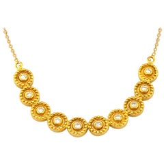 Georgios Collections 18 Karat Yellow Gold Diamond Round Chain Pendant Necklace