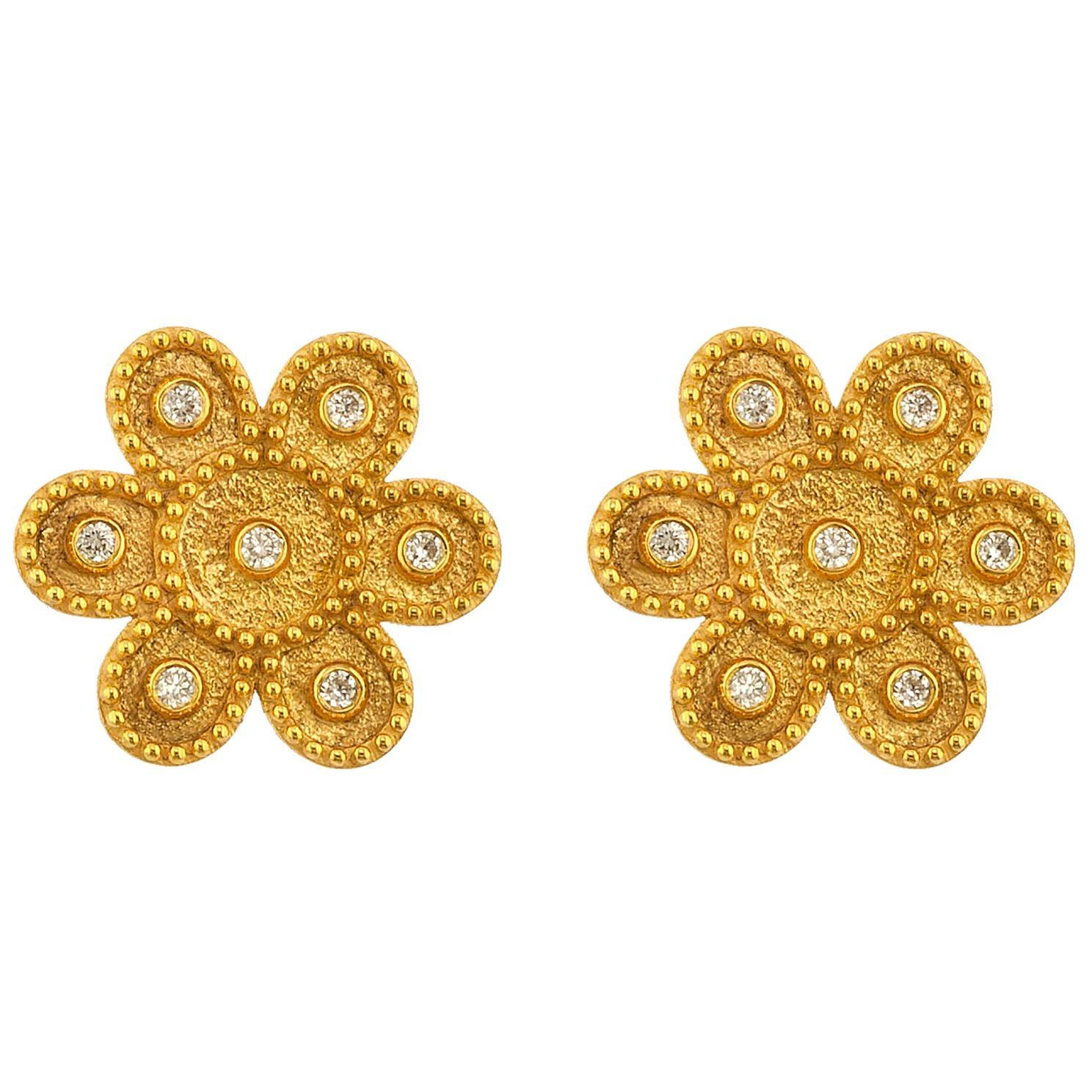 Georgios Collections 18 Karat Yellow Gold Diamond Round Flower Stud Earrings