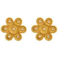Georgios Collections 18 Karat Yellow Gold Diamond Round Flower Stud Earrings