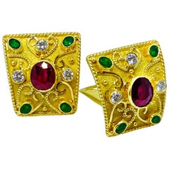 Georgios Collections 18 Karat Yellow Gold Diamond Ruby and Emerald Earrings