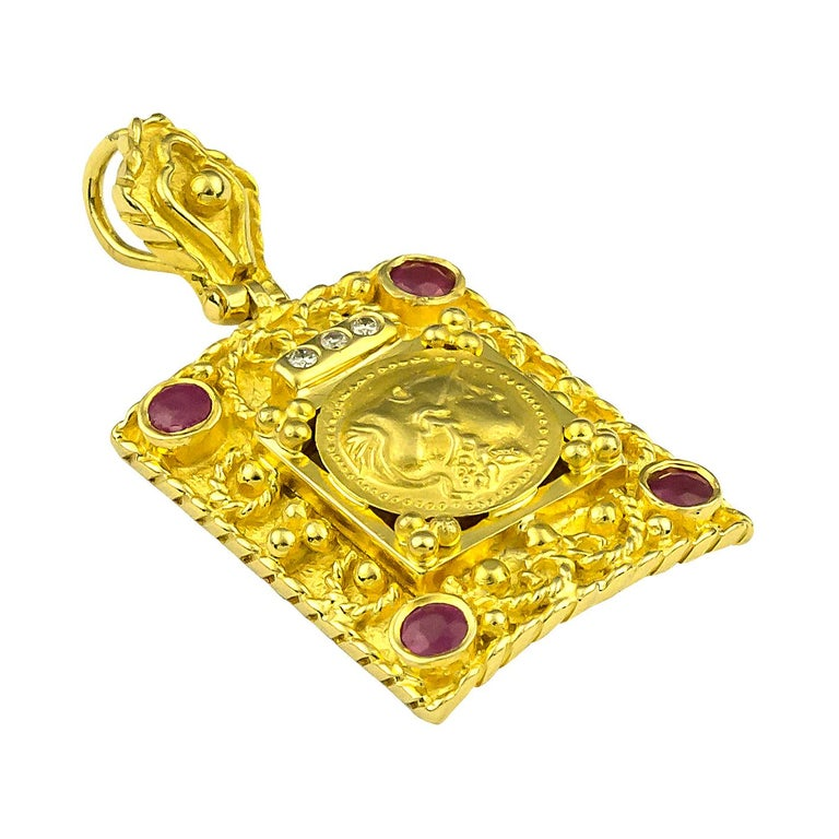 S.Georgios Designer 18 Karat Yellow Gold Coin Pendant all handmade and features a Gold Coin of Athena the Goddess and protector of Athens, and also known as the symbol of knowledge (the coin is an exact copy of the original). This gorgeous Coin