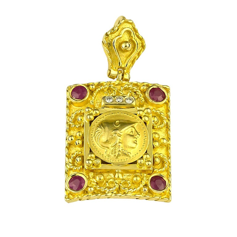 Georgios Collections 18 Karat Yellow Gold Diamond Ruby Coin Pendant of Athena For Sale 2