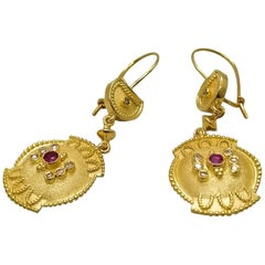 Georgios Collections 18 Karat Yellow Gold Diamond Ruby Dangle Drop Earrings
